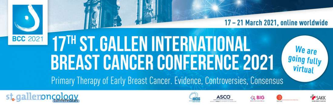 The 17th St. Gallen International Breast Cancer Conference will take place virtually from 17 to 21 March 2021.